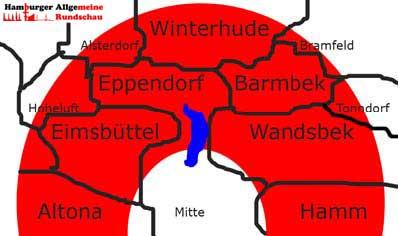 Verbreitungsgebiet der HAMBURGER ALLGEMEINEN RUNDSCHAU