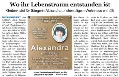 Plakette Sängerin Alexandra