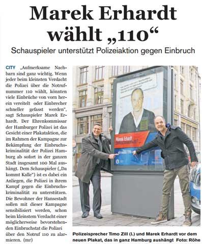 Plakat-Aktion der Polizei Hamburg mit Marek Erhardt