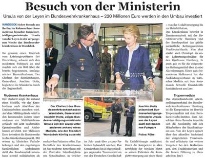 Artikel und Fotos über Besuch von Ursula von der Leyen