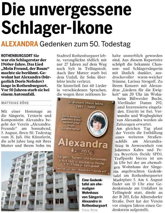 Artikel über eine Gedenkveranstaltung zum 50. Todestag von Alexandra
