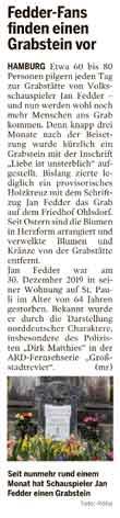 Artikel über Grab von Jan Fedder
