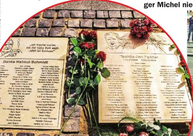 Foto von der Gedenktafel von Schauspieler Jan Fedder