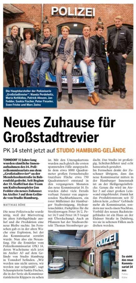 Artikel über das neue Polizeikommissariat aus dem Großstadtrevier