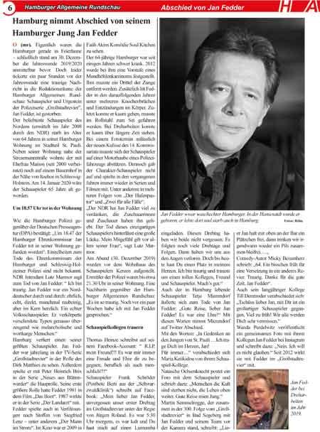 Bericht über die Trauerfeier von Jan Fedder